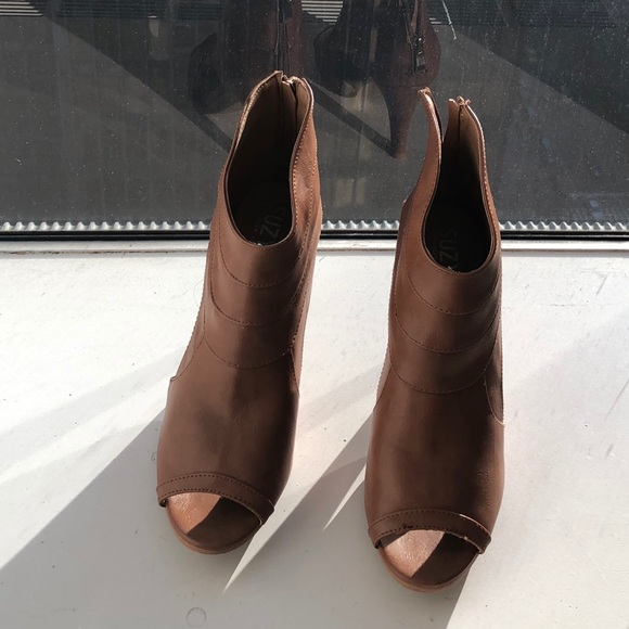 Shoes | Sandy Brown Open Toe Boots 3 In